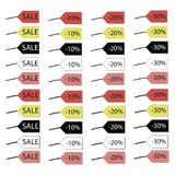 Multicolored tags with an inscription sale at a discount of 10, 20 and 30 percent with shadow and without isolated on white backgr. Multicolored tags with an stock illustration