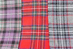 Multicolored Tartan Scarves Stock Image