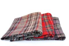 Multicolored Tartan Scarves Stock Images
