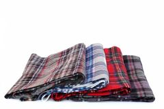 Multicolored Tartan Scarves Stock Photography