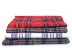 Multicolored Tartan Scarves Stock Photo