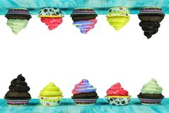 Multicolored, tasty muffins Royalty Free Stock Photo