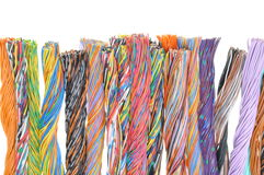 Multicolored telecommunication cables Royalty Free Stock Images