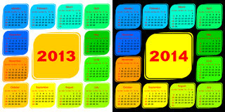 Multicolored template of a calendar. Calendar 2013 on a white background. Calendar 2014 on a black background Stock Photography
