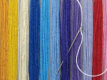 Multicolored threads 1. Set of the multicolored threads for needlework as a background Stock Images