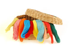 Multicolored threads for embroidery Stock Images
