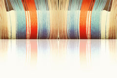 Multicolored threads with reflection as abstract background. Stock Image