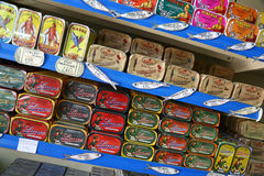 Multicolored tins of canned fish in Lisbon, Portugal Stock Photography
