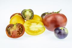Multicolored tomatoes closeup. Stock Image