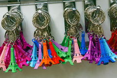 Multicolored Tour Eiffel key rings Royalty Free Stock Images