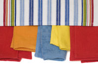 Multicolored Towels. Multicolored Bath Towels Isolated On White Background Royalty Free Stock Images