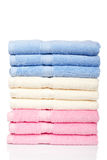Multicolored towels stacked Royalty Free Stock Images