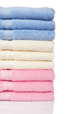 Multicolored towels stacked Stock Image