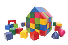 Multicolored toy block house Stock Image