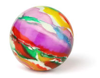 Toy Ball. Multicolored toy rubber ball on a white background Stock Photography