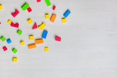 Multicolored toys blocks and bricks stock photos