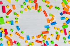 Multicolored toys blocks and bricks royalty free stock image
