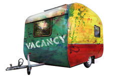 A multicolored trailer with caption Vacancy. A multicolored painted trailer with caption Vacancy, grungy, isolated on white background Stock Photography