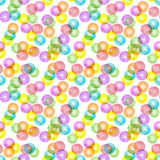 Multicolored transparent balls. Seamless watercolor pattern colorful transparent balls Royalty Free Stock Photography