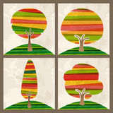 Multicolor tree set Stock Photos