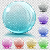 Multicolored transparent glass spheres with air bubbles Stock Photo