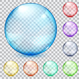 Multicolored transparent glass spheres. Set of transparent glass spheres in various colors Royalty Free Stock Photos