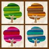 Four season multicolor tree set Royalty Free Stock Photography
