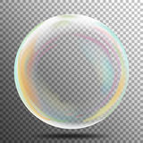 Multicolored Transparent Soap Bubble On A Plaid Background. Vector Illustration Royalty Free Stock Image