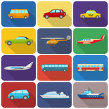 Multicolored transport icons flat Royalty Free Stock Photos