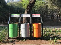 Multicolored trash cans designed for different types of waste on the background of green trees in the park royalty free stock photo