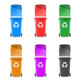 Trash cans are colorful. Vector illustration. stock illustration
