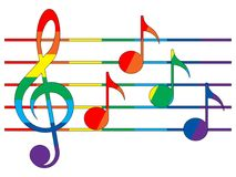 Multicolored treble clef, notes and staff. Treble clef, notes and staff in the colors of the rainbow on the white background Stock Images