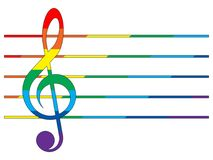Multicolored treble clef and staff. Treble clef and staff in the colors of the rainbow on the white background Stock Photos