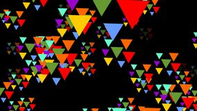 Multicolored triangle groups flying trough space. Triangles in vivid psychedelic colors on black background. 4k video stock video footage