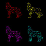 Multicolored triangle wolfs Royalty Free Stock Images