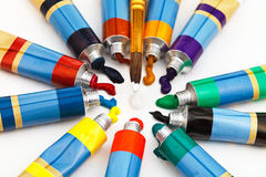 Multicolored tubes with squeezed watercolors Stock Photography