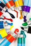 Multicolored tubes with squeezed watercolors Stock Image