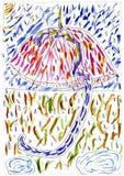 Multicolored umbrella - hand drawn illustration. Multicolored umbrella, a hand drawn illustration for yours design, postcard, album, cover, scrapbook, T-shirts Stock Image