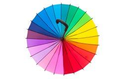 Multicolored umbrella on white background. Multicolored umbrella isolated on white background Royalty Free Stock Photography