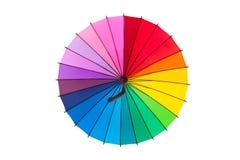 Multicolored umbrella on white background. Multicolored umbrella isolated on white background Royalty Free Stock Image