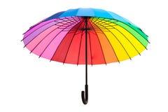 Multicolored umbrella on white background. Multicolored umbrella isolated on white background Royalty Free Stock Photo