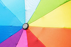 Multicolored umbrella in rainbow colors Stock Image