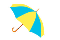 Multicolored umbrella in Ukrainian flag colors isolated on white Stock Photography