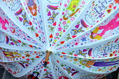 Multicolored umbrella. A variety of patterns printed on the umbrella, very beautiful Stock Images