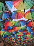 Multicolored umbrellas Stock Images