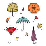Multicolored umbrellas of different shapes. Vector umbrellas illustration. Set of vector colorful umbrellas in vintage style Royalty Free Stock Photography