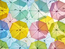 Multicolored umbrellas in pastel style. Royalty Free Stock Photos