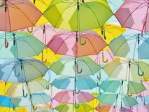 Multicolored umbrellas in pastel style. Royalty Free Stock Photo
