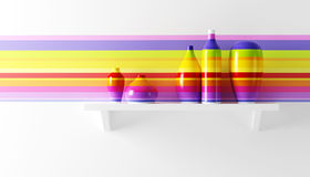Multicolored vases on the shelf Royalty Free Stock Photo