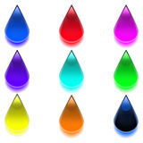 Multicolored vector drops. Multicolored drops. Vector graphics. Collection of buttons. A set of graphical elements in the form of drops Stock Photo